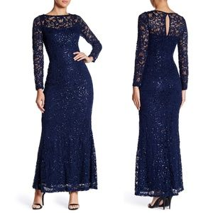 Marina Navy Stretchy Long Sleeve Sequin Lace Gown